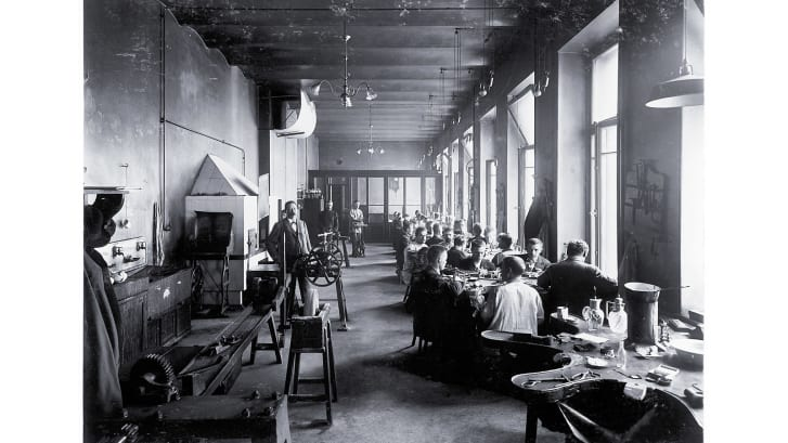 "The workshop of one of Faberge's ""work masters,"" the gold- and silversmith, August Hollming."