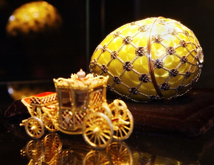 The Faberge Coronation Egg on display at Sotheby's auction houses in New York in 2004.