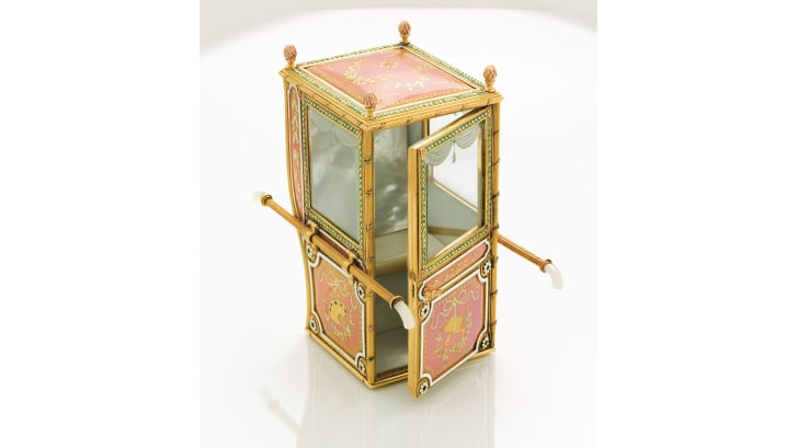 Faberge's workshop also produced other decorative items, such as this miniature sedan chair.