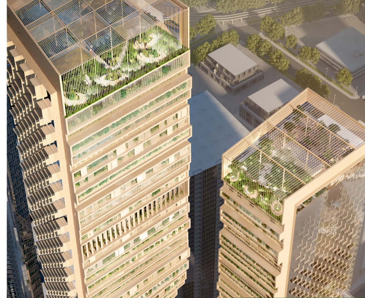 The design features publicly accessible spaces, including elevated gardens.