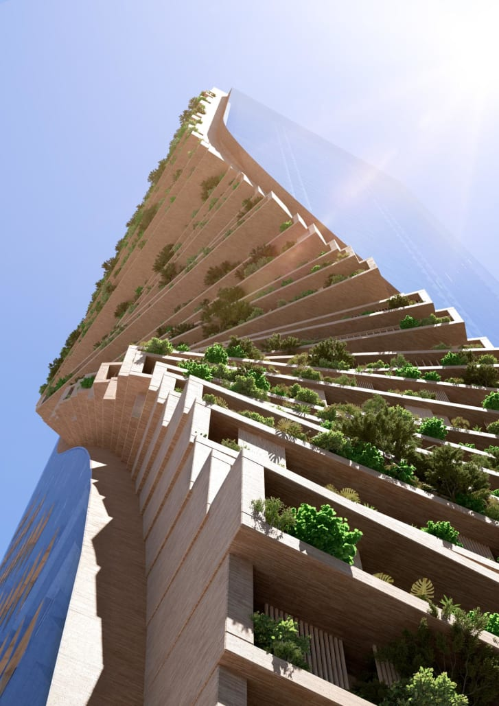 """The tower's design features a twisting """"spine"""" of balconies, terraces and gardens filled with trees and foliage."""