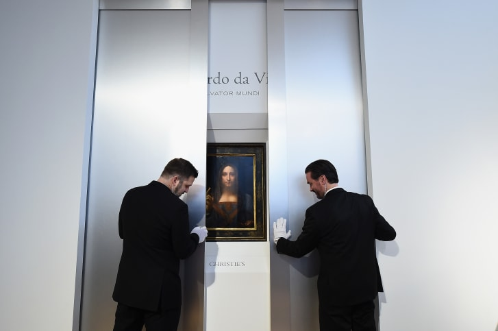 "Christie's unveil Leonardo da Vinci's ""Salvator Mundi"" at Christie's New York on October 10, 2017 in New York City."