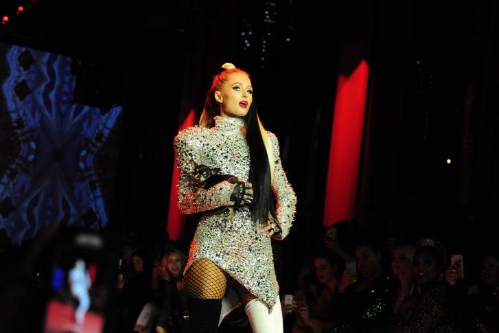 Paris Hilton walks the runway at Disney Villains x The Blonds.