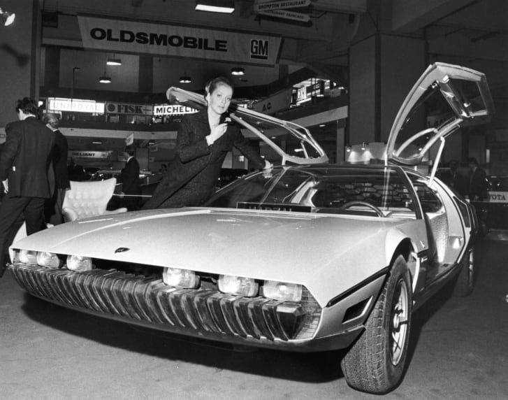 The Lamborghini Marzal, a one-off prototype concept car, designed by by Marcello Gandini of the Bertone design studio, at a preview of the London Motor Show at Earl's Court, 17th October 1967. (Photo by Mike McLaren/Central Press/Hulton Archive/Getty Images)