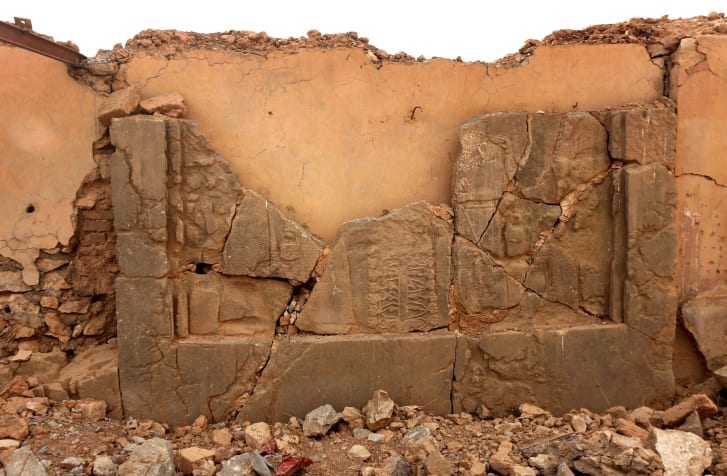 Damage caused to the ancient monuments of Nimrud by ISIS fighters.