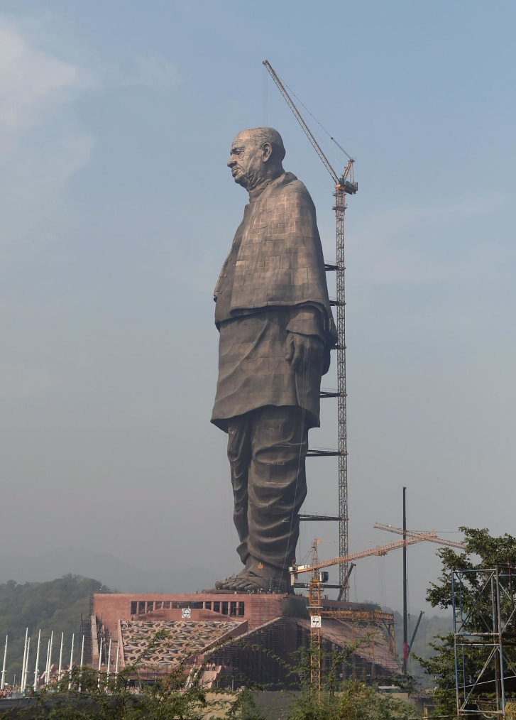The statue is of Sardar Vallabhbhai Patel.