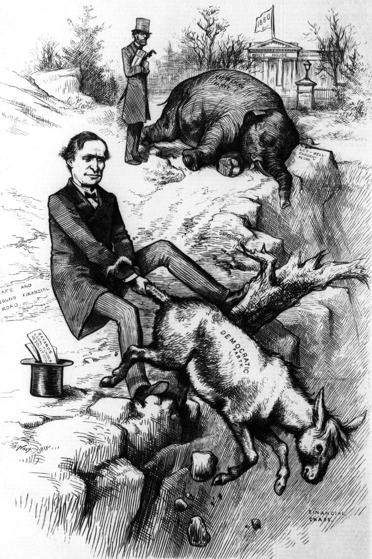 """托马斯·纳斯特(Thomas Nast)的这部政治漫画,取自1879年版的""""哈珀周刊""""(Harper's Weekly),是早期使用大象和驴子来共和党和民主党派。"""