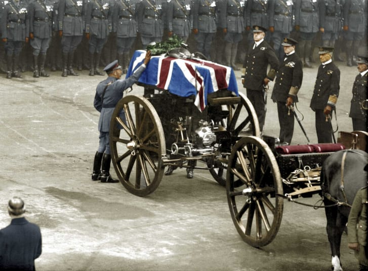 The Unknown Warrior, an unidentified British soldier killed on a European battlefield, is buried in London