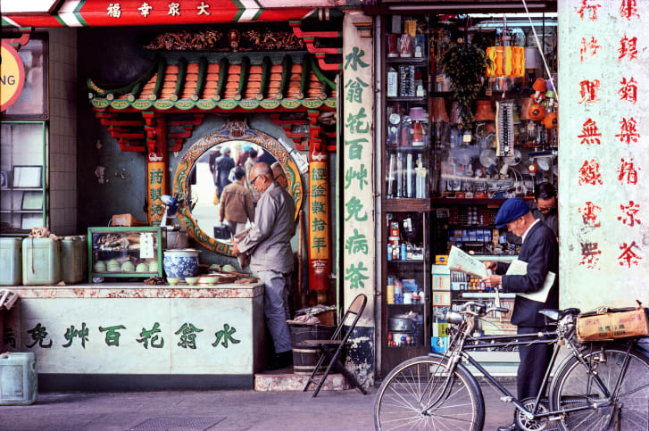 A teashop on Hong Kong's Shanghai Street, pictured in 1982.
