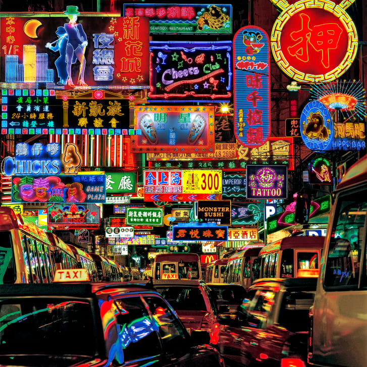"Macgregor's ""Neon Fantasy"" series sees him compiling photos of Hong Kong's increasingly rare neon signs into single collages."