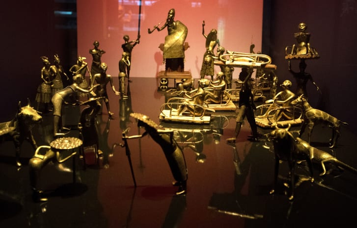 The Ato ceremony of the Kingdom of Dahomey, circa 1934, is pictured, on June 18, 2018 at the Quai Branly Museum-Jacques Chirac in Paris.