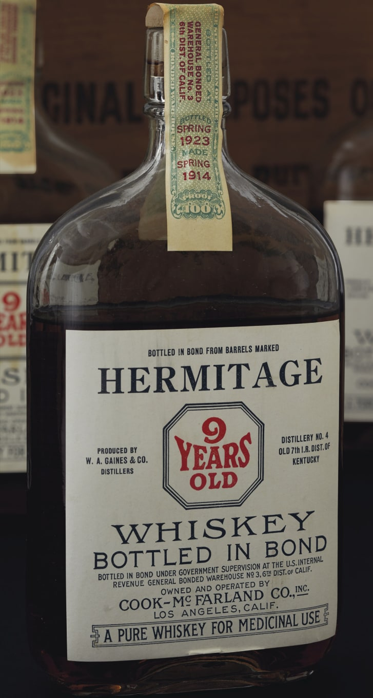 Christies will auction off 40 cases of unopened bonded whiskey bottled between 1908 and the 1930s, including a lot of Hermitage whiskey pints distilled around 1914.