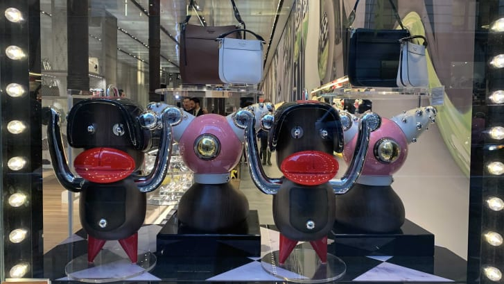 Civil rights attorney Chinyere Ezie spotted these figures in the window of the Prada store in Manhattan's Soho shopping district.