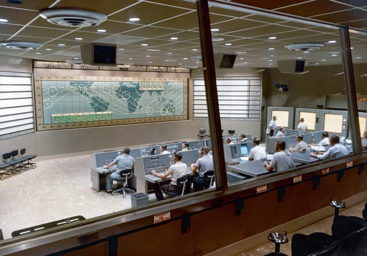 The Mercury Control Center  at Cape Canaveral, from which seven human spaceflights were supervised between May 1961 and March 1965.