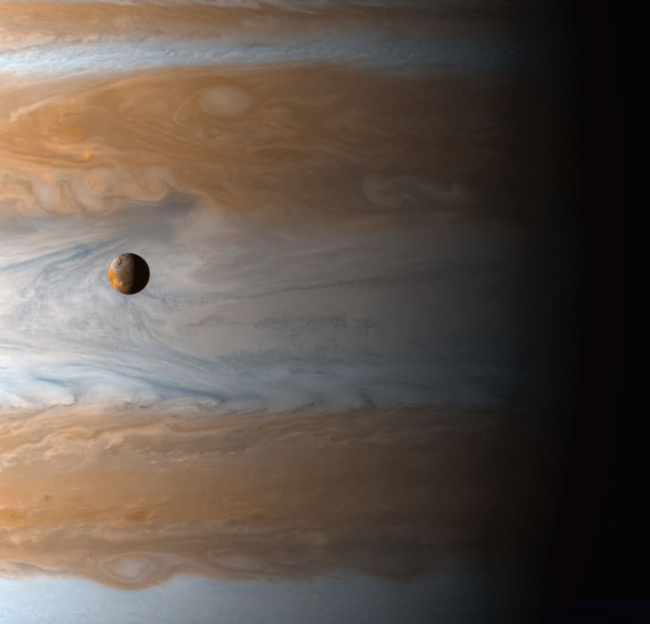 Jupiter's moon Io as seen by the Cassini spacecraft, launched in 1997.