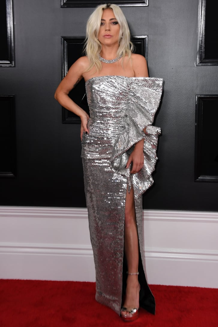 Lady Gaga wore a dress by designer Hedi Slimane.