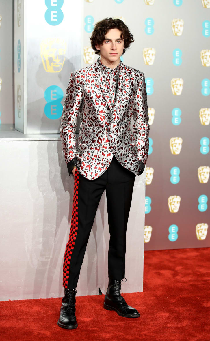 """Beatiful Boy"" star Timothée Chalamet turned heads again in a dazzling Haider Ackermann printed jacket and matching shirt."