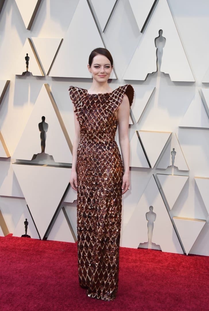 """Best Supporting Actress nominee for """"The Favourite"""" Emma Stone arrives for the 91st Annual Academy Awards at the Dolby Theatre in Hollywood, California on February 24, 2019."""