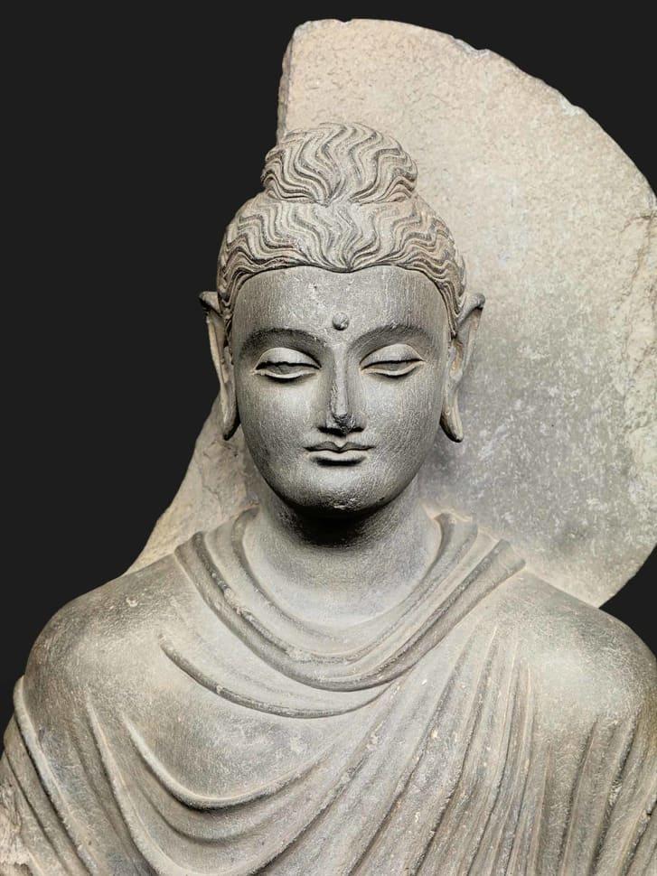Standing Śākyamuni Buddha -- Gandhāra Kushan dynasty second to third century CE.