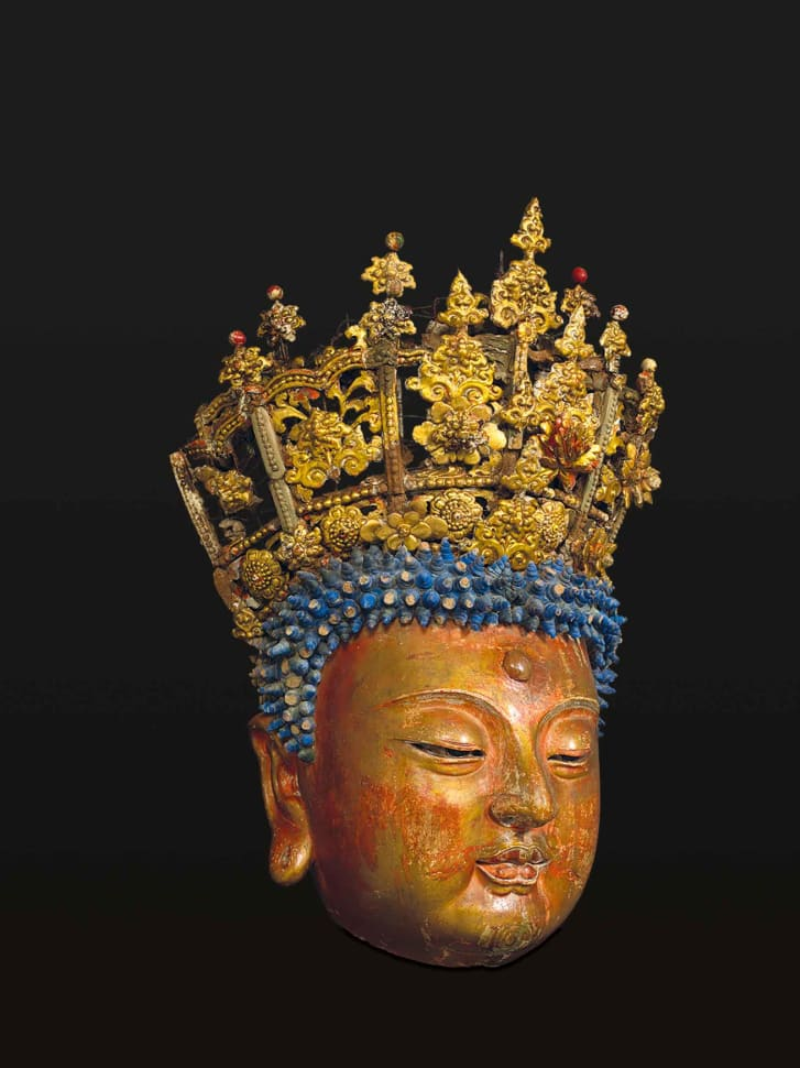Head of Buddha with Regal Crown -- China Ming dynasty 15th century.