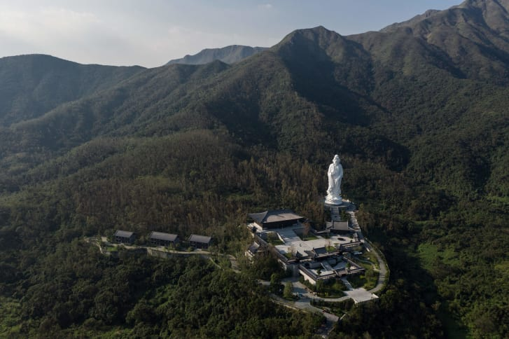An aerial view of the Tsz Shan monastery in Hong Kong.