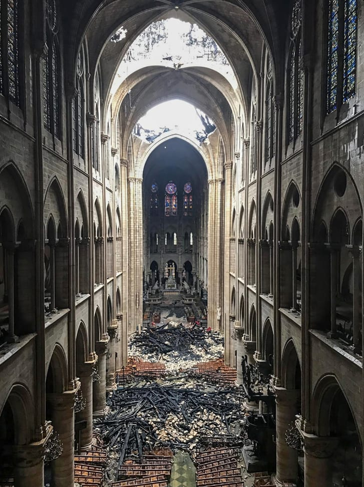 The charred interior of the Notre Dame Cathedral after Monday's devastating fire.