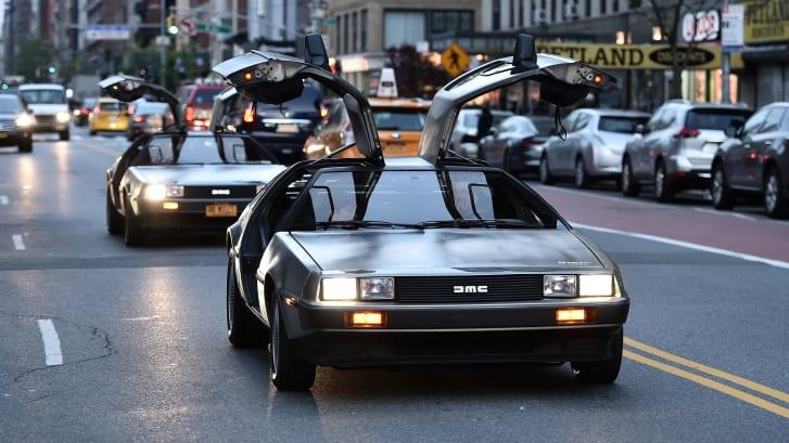 Delorean cars pictured in New York in 2019.