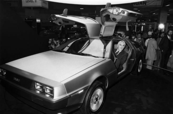 American entrepreneur John DeLorean in one of his cars.