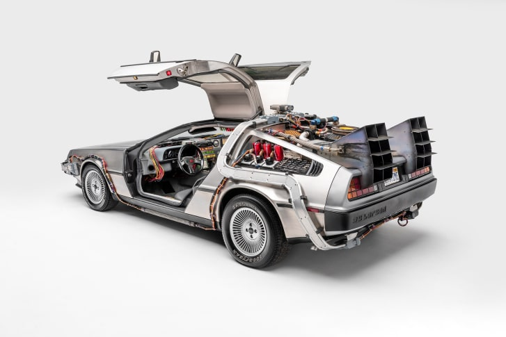 The Back to the Future car at the Petersen Automotive Museum.