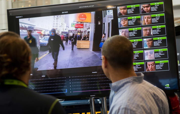 A display shows a facial recognition system for law enforcement during the NVIDIA GPU Technology Conference  in Washington, DC, on November 1, 2017.