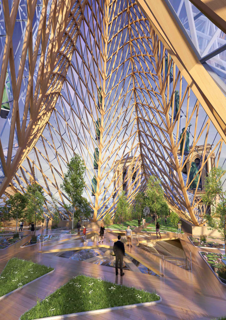 The cathedral could host an urban farm which produces food for local people.