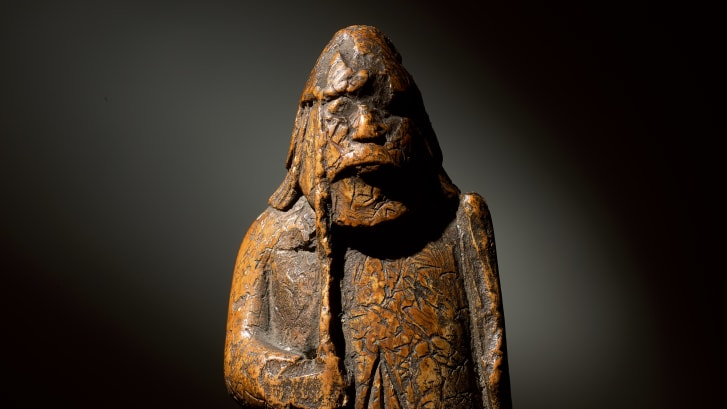 The chessman was recorded in the owner's ledger as 'Antique Walrus Tusk Warrior Chessman.'