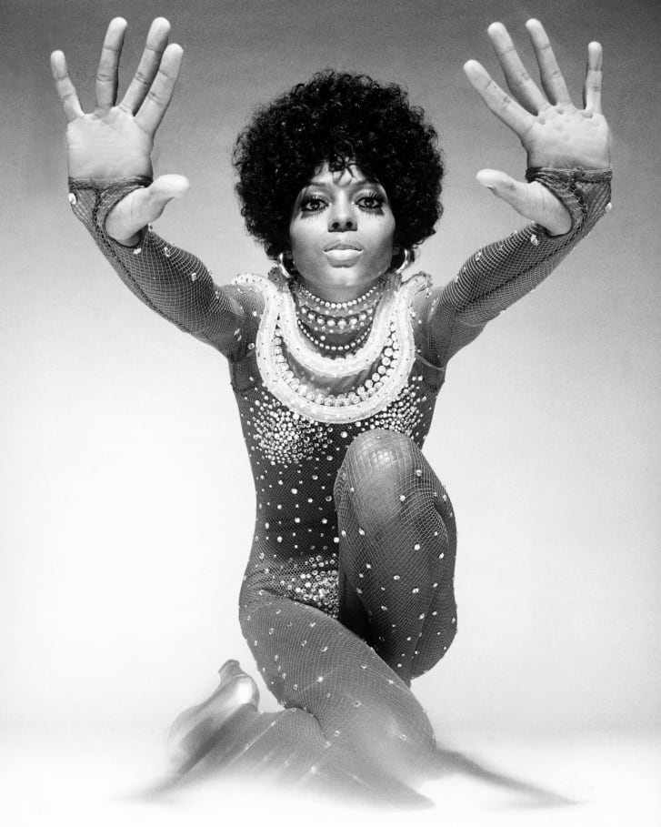 Singer Diana Ross poses in a Bob Mackie catsuit in 1974.