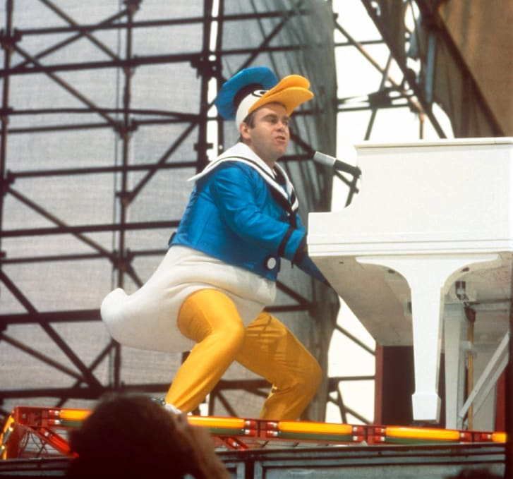 Elton John wears Bob Mackie during a performance in New York's Central Park in 1980.