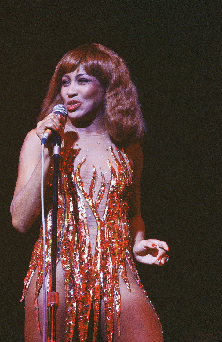 Tina Turner performs in a sequined Bob Mackie dress in the late 1970s.