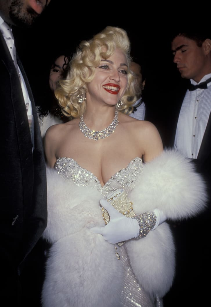Madonna wears one of Mackie's designs at the 1991 Oscars.