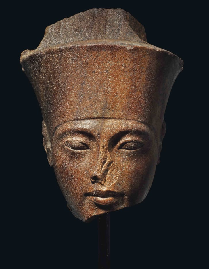 An Egyptian brown sculpture of Tutankhamen                        sold for nearly $6 million at Christie's auction                        house.