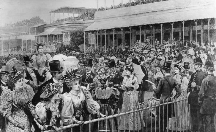 A painting by Arthur Hopkins (c.1890) of the enclosure at Ascot in Berkshire before the Gold Cup horserace.