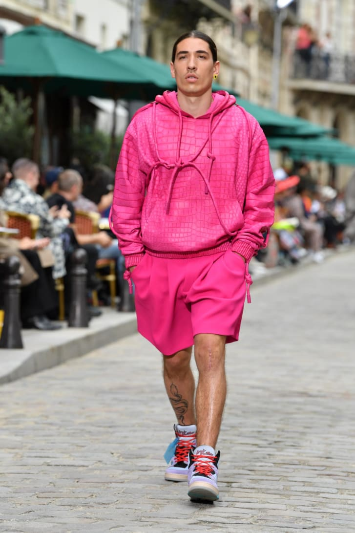 Hector Bellerin walks the runway during the Louis Vuitton Menswear Spring Summer 2020 show as part of Paris Fashion Week.
