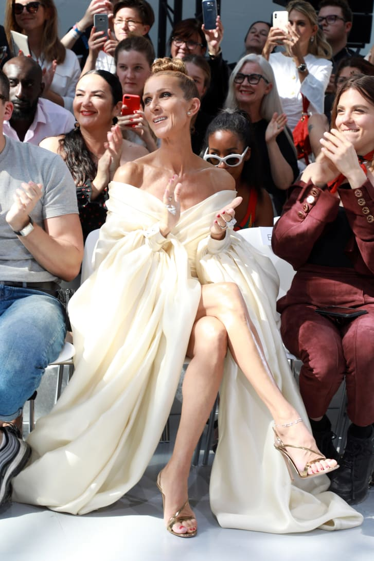 Celine Dion applauds at the front row of Alexandre Vauthier's Haute Couture Autumn-Winter 2019 show -- wearing a dress designed by the designer himself.