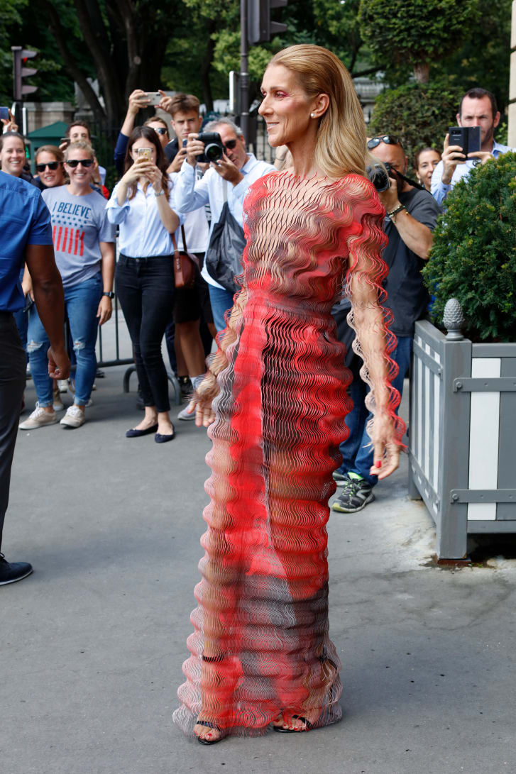 Celine Dion wore one of Iris van Herpen's signature pleated dresses to the designer's show on July 1.
