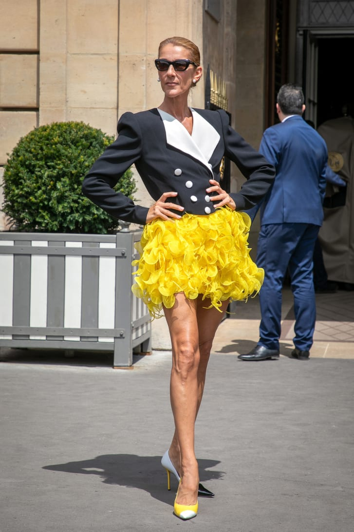 Celine Dion wears an '80s-inspired ensemble by Dutch designer Ronald Van Der Kemp on June 30.