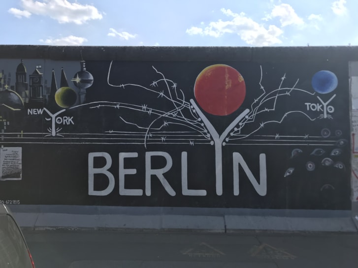 Many of the murals on the Berlin Wall Eastside Gallery express geo-political themes.
