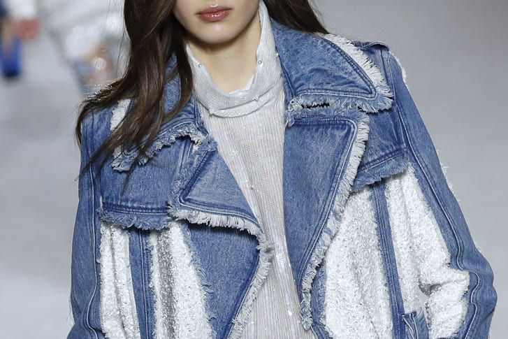 A model presents a creation for Balmain on March 2018 in Paris.