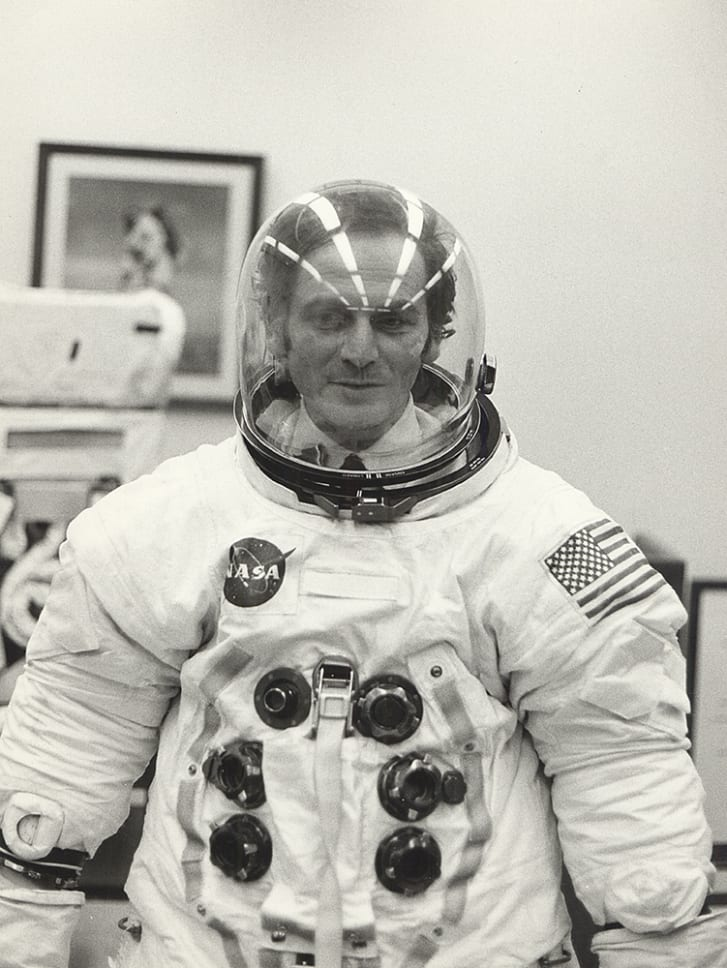 Pierre Cardin wearing an Apollo 11 space suit, 1969.