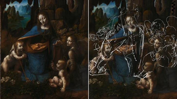 The finished painting (left) and Leonardo's hidden sketches shown on the canvas (right).