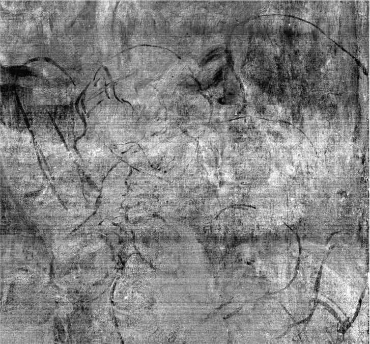 Detail from imaging data of Leonardo's painting The Virgin of the Rocks, revealing the drawing for the angel and baby of the first composition.