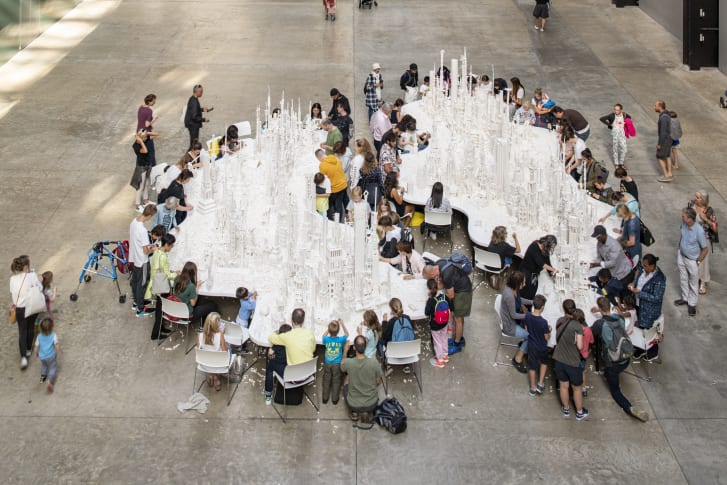 """Olafur Eliasson's """"The Cubic Structural Evolution Project"""" was at London's Tate Modern from 26 July to 18 August 2019."""
