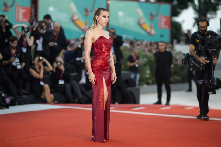 """Marriage Story"" co-star Scarlett Johansson arrvies at the movie's premiere in custom Celine."