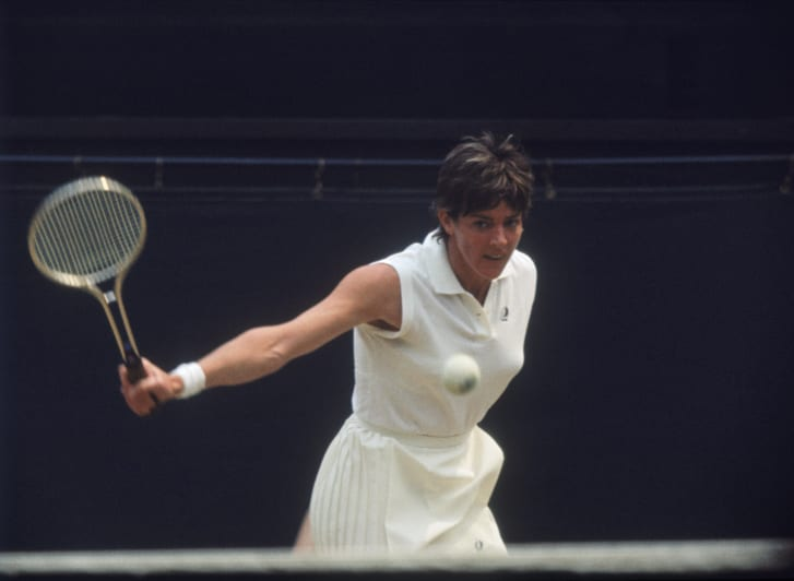 Margaret Court competing against Evonne Goolagong in the Ladies' Singles Final at Wimbledon, 2nd July 1971.
